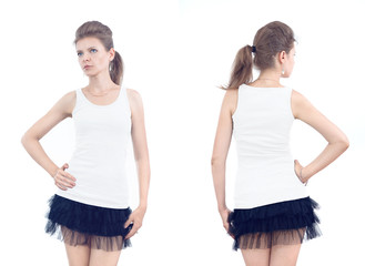 Young beautiful casual girl with blank shirt, front and back on