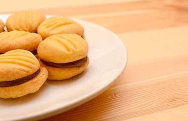 Plate of chocolate-filled cookies
