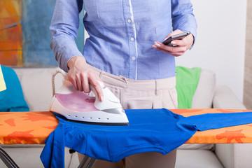 Busy mum during ironing