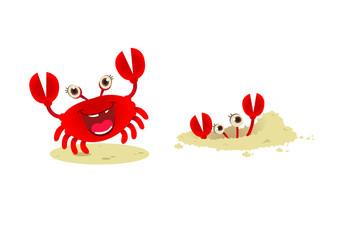 Cute cartoon red crab,