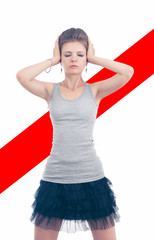 Poster casual girl standing covering ears with hands with closed