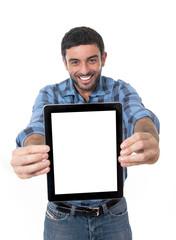 man with digital tablet in network, blog, internet com