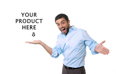happy man showing blank copy space above palm hand