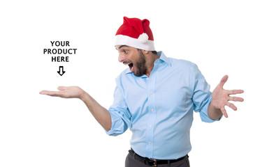 man in christmas santa hat showing blank copy space