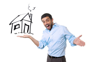 happy attractive man and house sketch in real estate concept