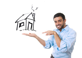 happy man showing new house real estate concept