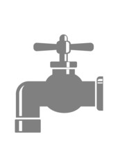 Grey faucet icon on white background