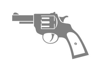 Grey revolver icon on white background