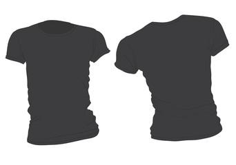 Women's Black T-Shirt Template