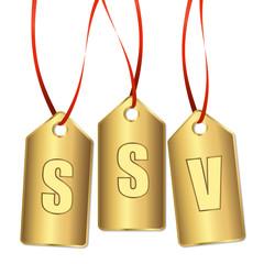 3 goldene Anhänger mit SSV