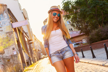 Young stylish woman in a city street