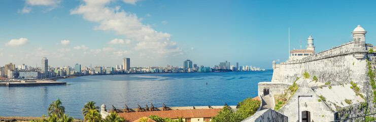 The skyline of Havana with El Morro castle