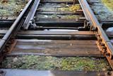 tory kolejowe ze zwrotnicą, krajobraz kolejowy