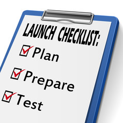 launch checklist clipboard