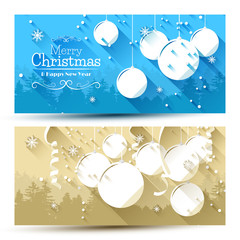 Vector set of modern Christmas banners - flat design style