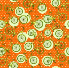 bicycles, seamless pattern