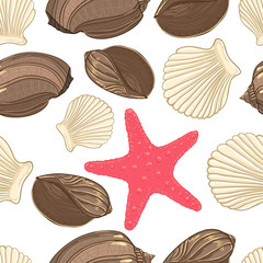 Seamless background with  shells starfish