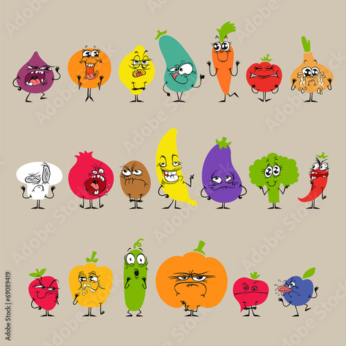Cartoon Fruits and Vegetables with Facial Expressions Set - 69089419