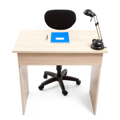 Student Desk with Notebook Pen and Lamp