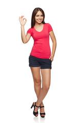 Female okay gesturing