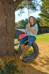 Pretty Girl on Tire Swing