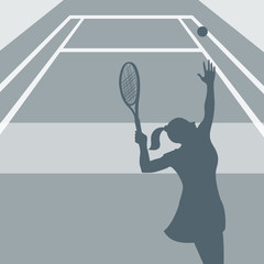 tenniswoman service