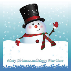 Card, Snowman wearing santa hat and gloves , vector