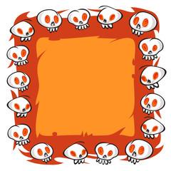 Cartoon Skulls Square Frame on White Background