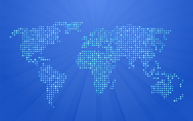 world map made ​​up of small polka dots on blue background with