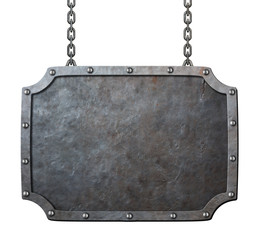medieval metal sign or frame with chains isolated on white