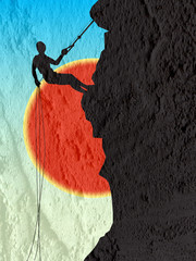 climb on a mountain on Cement wall texture background design