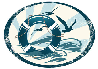 lifebuoy emblem with sea waves and seagulls