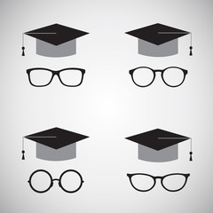 Vector image of an hat and glasses. Education icon.