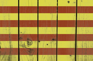 Catalonia flag on wooden background
