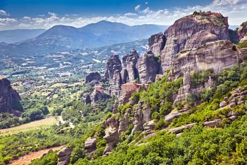 View on Meteora in Trikala, Greece.