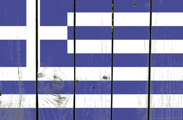 Greece flag on wooden background