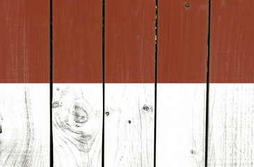 Indonesia flag on wooden background