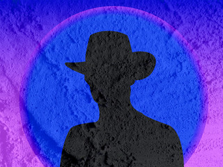 cowboy people  silhouette on Cement wall texture background desi