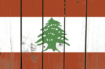 Lebanon flag on wooden background