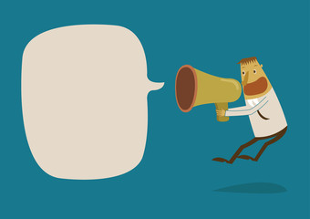 Businessman shouting a loudspeaker megaphone