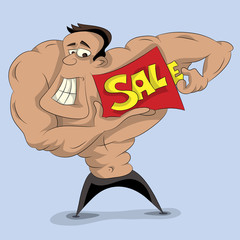 Strong Man Holding Sale Sign (vector Art)