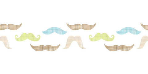 Fun silhouette mustaches horizontal border seamless pattern