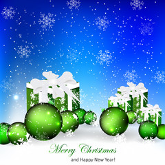 Beautiful Christmas background with xmas balls and gifts