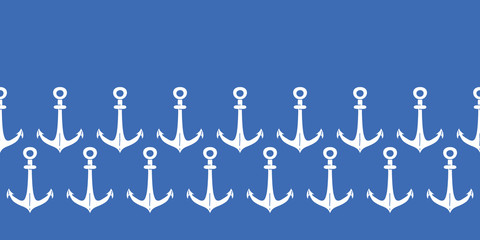 Anchors blue and white horizontal border seamless pattern