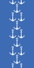 Anchors blue and white vertical border seamless pattern