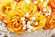 Bouquet of orange roses, copy space