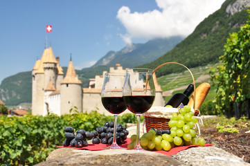 Wine and grapes.Switzerland