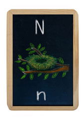 letter N on blackboard
