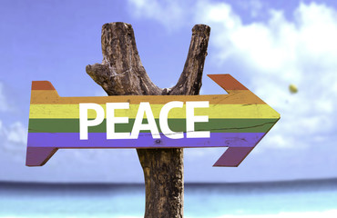Peace in a Rainbow wooden sign with a beach on background