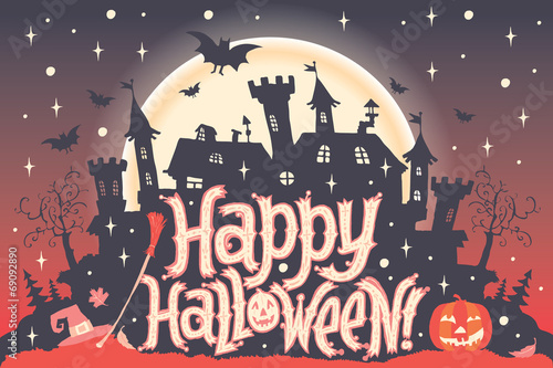 Halloween party invitation postcard, poster or background